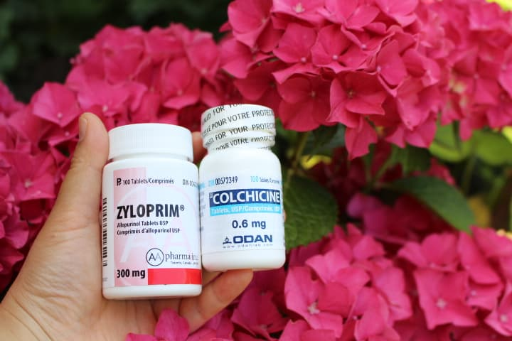Photo Credit: Colchicine, Zyloprim for gout attack, by Instagram user @ironfan.tiffany