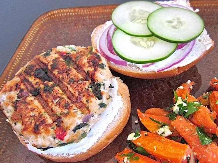 "Get the recipe for this Greek turkey burger at <a href=""https://www.budgetbytes.com/greek-turkey-burgers/"" target=""_blank"" rel=""nofollow"">Budget Bytes</a>. Photo: Budget Bytes."