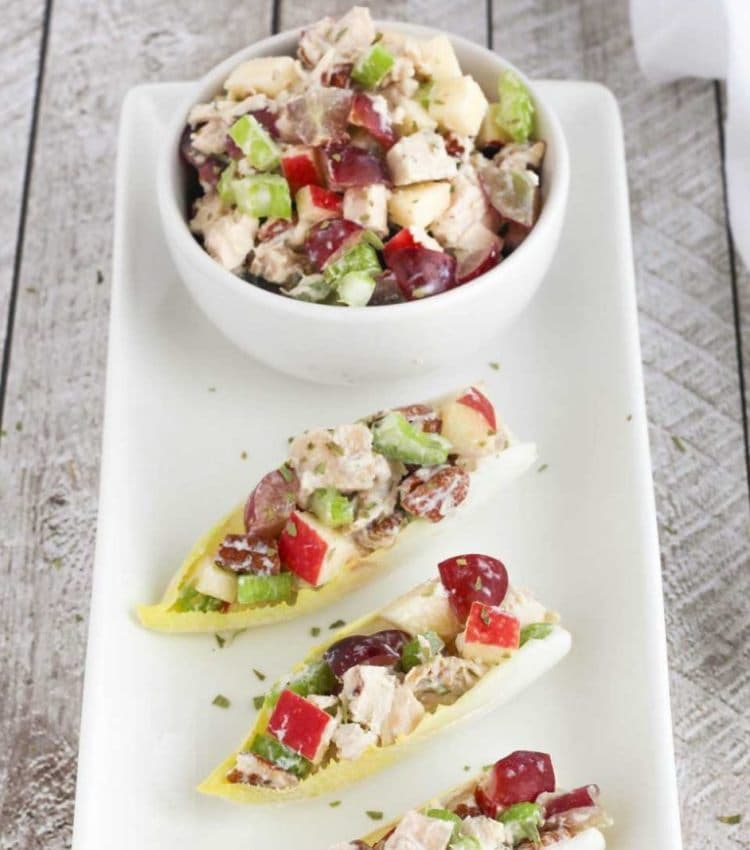 "Get the recipe for this healthy chicken salad with grapes, apples and tarragon-yogurt dressing at <a href=""https://twohealthykitchens.com/healthy-chicken-salad-with-grapes-apples-and-tarragon-yogurt-dressing/"" target=""_blank"" rel=""nofollow"">Two Healthy Kitchens</a>. Photo: Two Healthy Kitchens."
